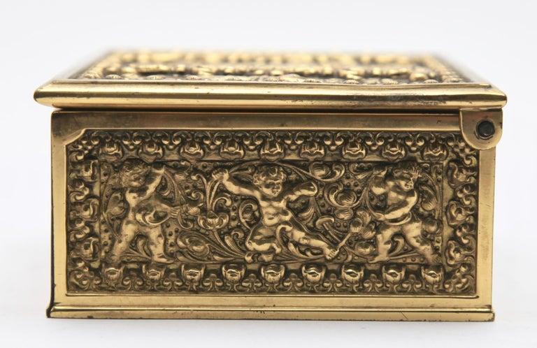 Erhard & Sons, Pair of Art Nouveau Brass Repoussé Boxes For Sale 5