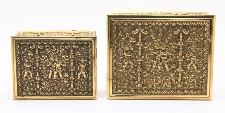 German Erhard & Sons, Pair of Art Nouveau Brass Repoussé Boxes For Sale