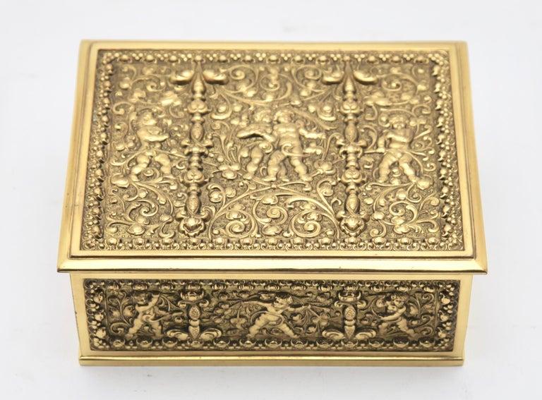 20th Century Erhard & Sons, Pair of Art Nouveau Brass Repoussé Boxes For Sale