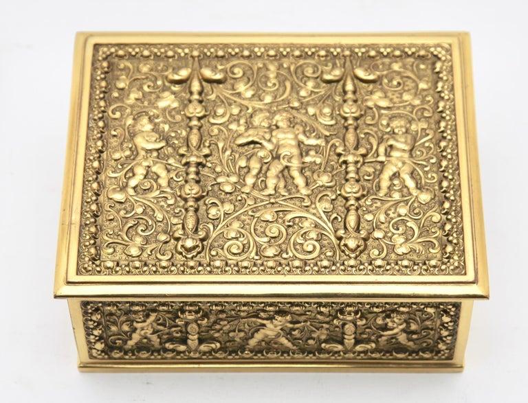 Erhard & Sons, Pair of Art Nouveau Brass Repoussé Boxes For Sale 1