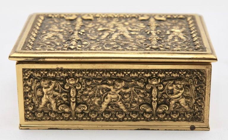 Erhard & Sons, Pair of Art Nouveau Brass Repoussé Boxes For Sale 3