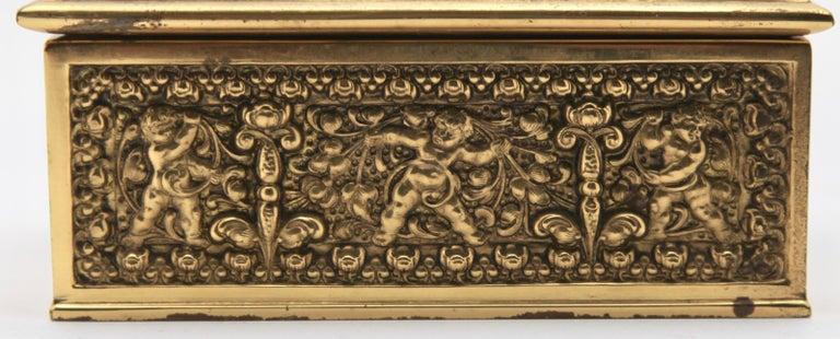 Erhard & Sons, Pair of Art Nouveau Brass Repoussé Boxes For Sale 4