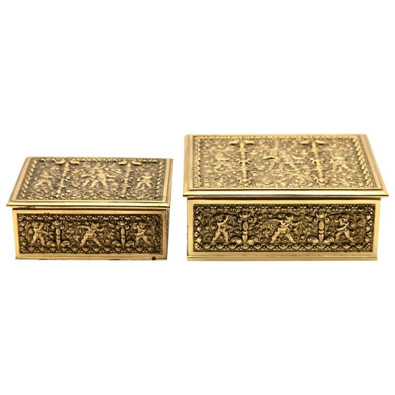 Erhard & Sons, Pair of Art Nouveau Brass Repoussé Boxes For Sale