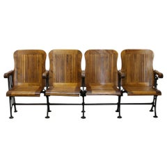Eric, 1905 Four Seat Folding Theater Chairs with Cast Iron Frame from Brooklyn