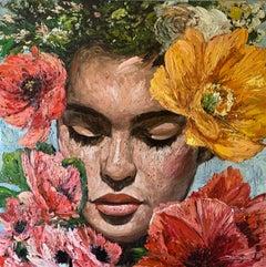 Chloe, Impressionism, Floral, Portrait, Cuban Artist in USA, oil paint, Palette