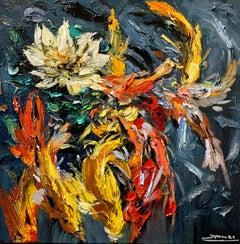 Koi Fish ,Impressionism, Cuban Artist, oil painting, Koi, Water Lilies,nature