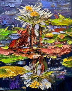 Water Lilies I, Impressionism, Floral, Cuban Artist in USA, oil painting,