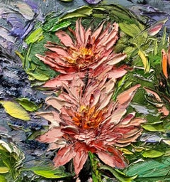 Water Lilies II, Impressionism, Floral, Cuban Artist in USA, oil painting,