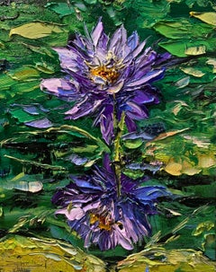 Water Lilies III, Impressionism, Floral, Cuban Artist in USA, oil painting,