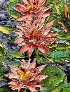 Water Lilies IV, Impressionism, Floral, Cuban Artist in USA, oil painting,