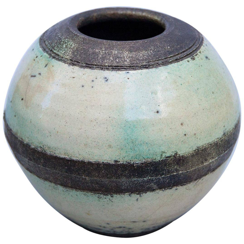Eric Astoul Brutalist Studio Ceramic Vase Turquoise, France, 2000s