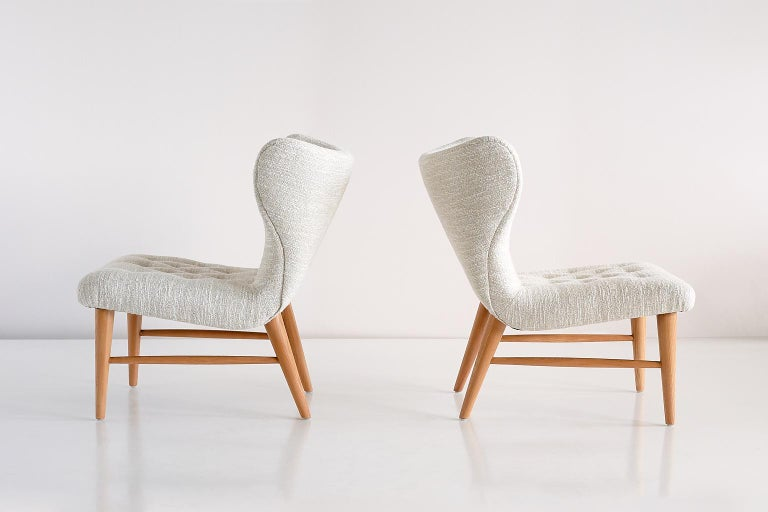 Scandinavian Modern Eric Bertil Karlén Pair of Lounge Chairs, Sweden, 1940s For Sale
