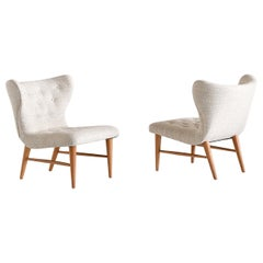 Eric Bertil Karlén Pair of Lounge Chairs, Sweden, 1940s