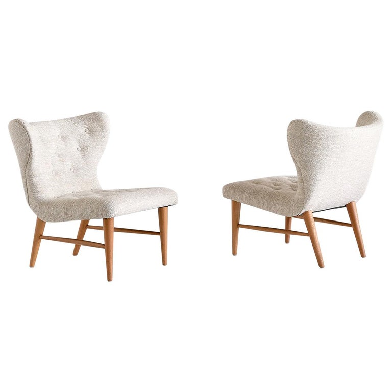 Eric Bertil Karlén Pair of Lounge Chairs, Sweden, 1940s For Sale