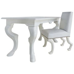 """Eric Brand White Lacquered Desk and Chair """"Stallion"""" Model"""