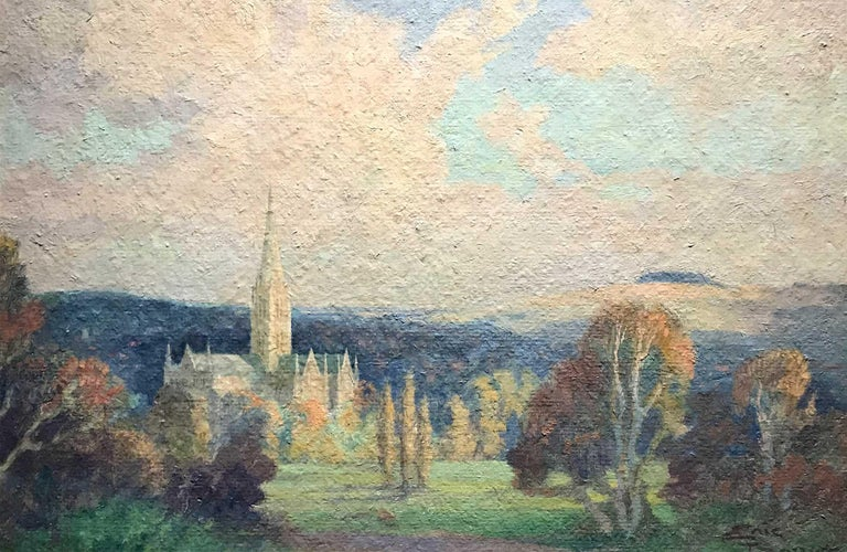 Eric Brown Landscape Painting - Salisbury Cathedral