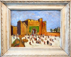 Antique oriental Cityscape painting with a camel - Morocco - Figurative Exotic