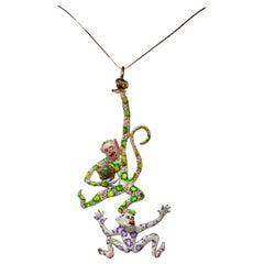Eric de Kolb Monkey Pendant Necklace Original Sculpture Enamel Amazonite Gold