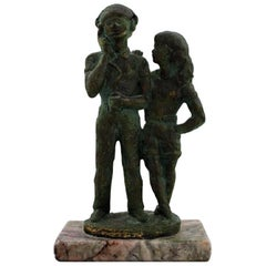 Eric Demuth, Swedish Sculptor, Bronze Sculpture on Marble Base, Young Couple