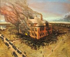 Collinwood School Fire, Collinwood, Ohio, 1908. Oil on Canvas, Framed