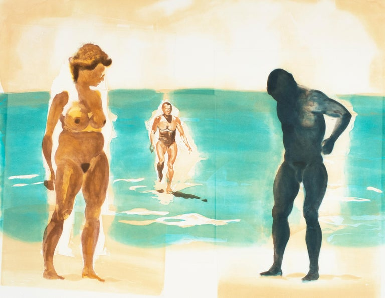 Beach scene, Beach: Eric Fischl Aquatint Etching of nude woman in the ocean - Neo-Expressionist Print by Eric Fischl