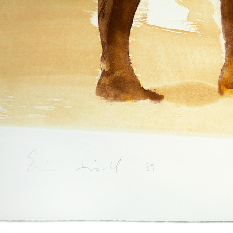 A turquoise ocean stretches to the horizon in this erotic Eric Fischl beach scene featuring three nude beachgoers.  A wash of translucent sandy beige duplicates the hazy light of a late summer day, softening the ambiguous sexual tension of this