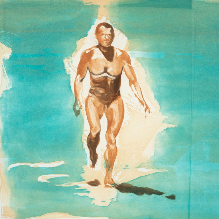 Beach scene, Beach: Eric Fischl Aquatint Etching of nude woman in the ocean 3
