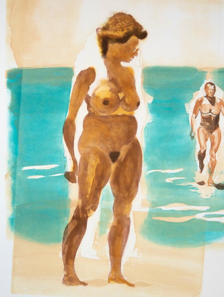Beach scene, Beach: Eric Fischl Aquatint Etching of nude woman in the ocean 4
