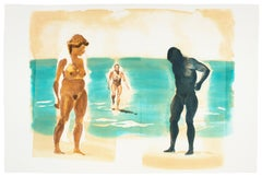 Beach scene, Beach: Eric Fischl Aquatint Etching of nude woman in the ocean