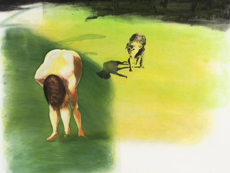 Beach scene: Dog, Eric Fischl garden landscape with nude woman and lush grass  - Print by Eric Fischl