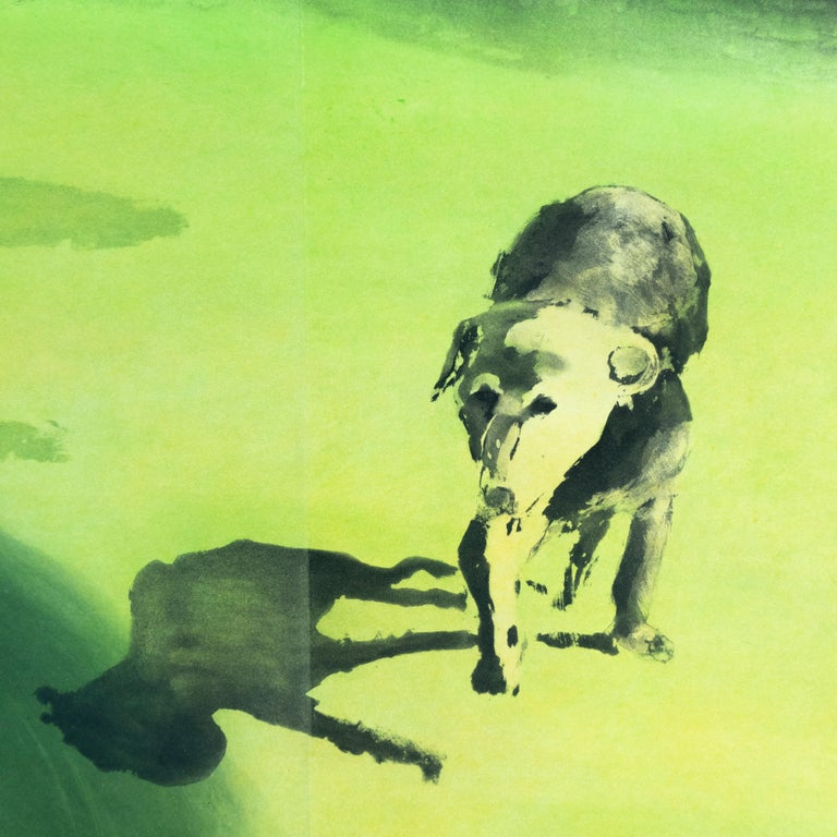 Beach scene: Dog, Eric Fischl garden landscape with nude woman and lush grass  For Sale 1