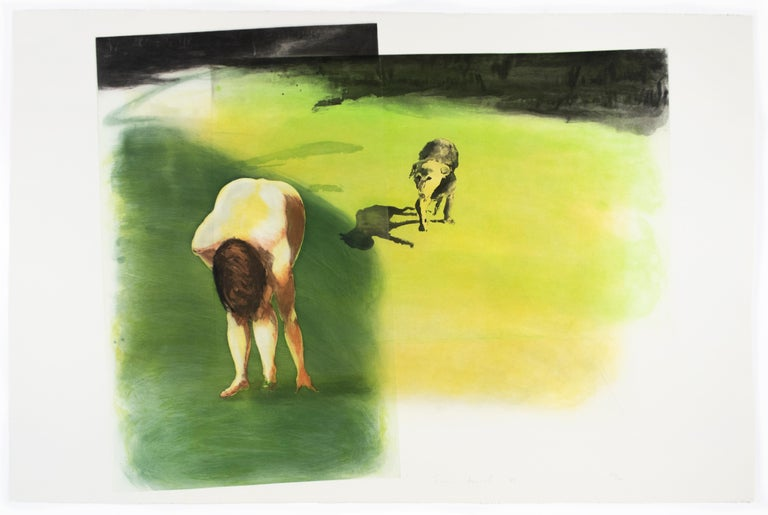 Beach scene: Dog, Eric Fischl garden landscape with nude woman and lush grass  - Neo-Expressionist Print by Eric Fischl