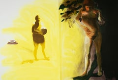 Beach scene, Inner Tube: Eric Fischl Aquatint Etching of sunlit nude woman
