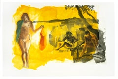Beach scene, Rays: Eric Fischl Aquatint Etching of nude woman gold sunset