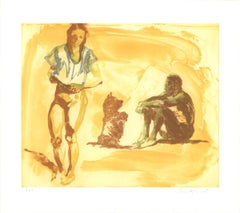 "Eric Fischl-Beach Scene with Poodle-25.75"" x 28.75""-Etching-Brown, Yellow"