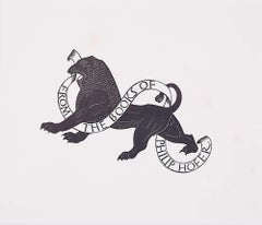 Eric Gill 1934 Woodblock Print 'From the Books of Philip Hofer' 'Ex Libris' Lion