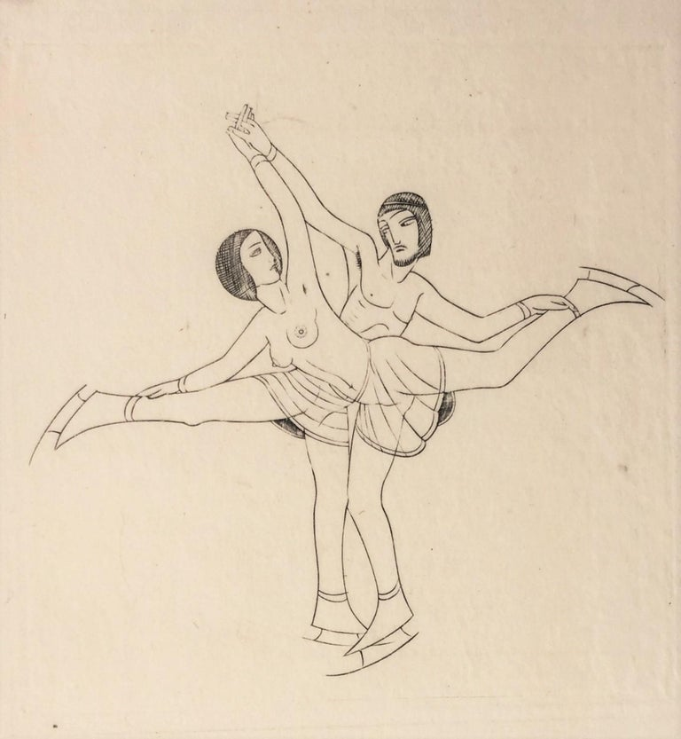 Skaters - Modern Print by Eric Gill