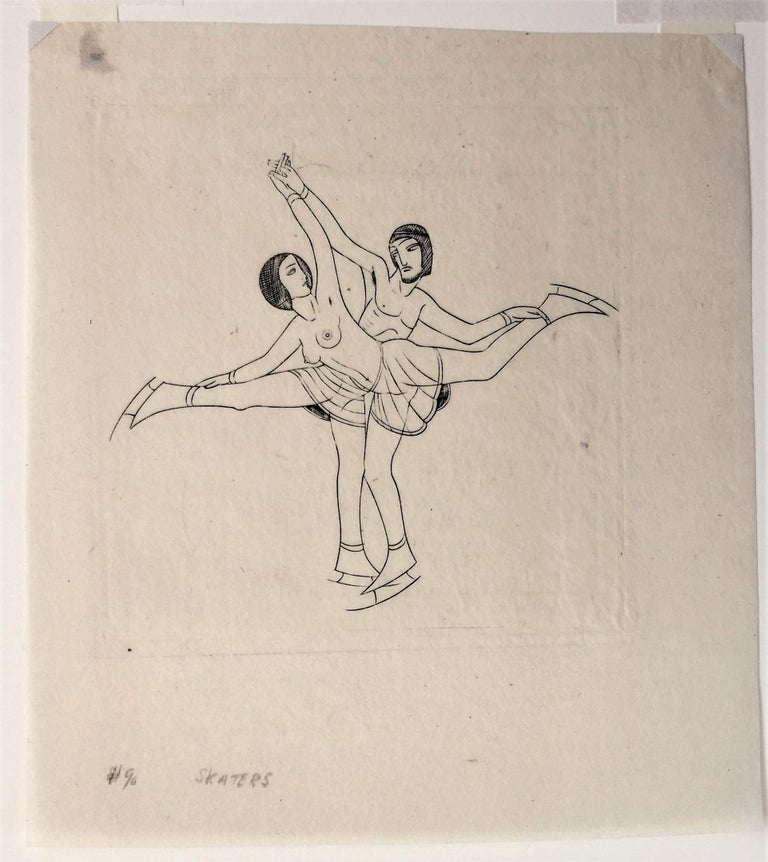 Skaters - Beige Nude Print by Eric Gill