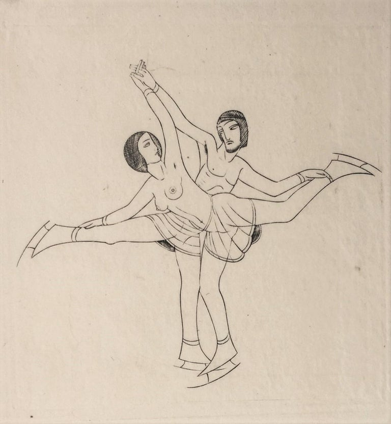 Eric Gill Nude Print - Skaters