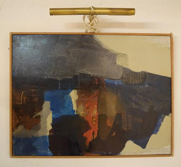 Eric Göran Gustavsson. Swedish artist. Oil on board. Abstract landscape. In perfect condition. The board measures: 81 cm x 61 cm. The frame measures: 1 cm. Signed and dated. 1965.