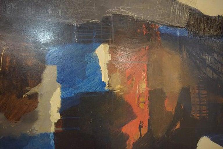 Eric Göran Gustavsson, Swedish Artist, Oil on Board, Abstract Landscape In Excellent Condition For Sale In Copenhagen, Denmark