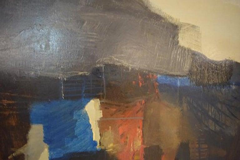 Mid-20th Century Eric Göran Gustavsson, Swedish Artist, Oil on Board, Abstract Landscape For Sale