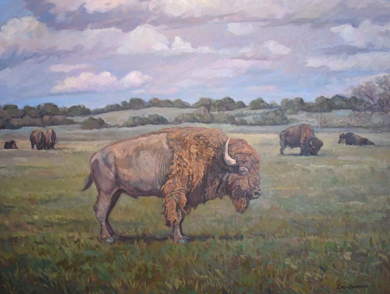 "Eric Harrison Animal Painting - ""Bison"" Buffalo Landscape"