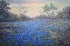 """""""Bluebonnets In Evening Light"""" Bluebonnet Texas Hill Country 52 x 71 Framed"""