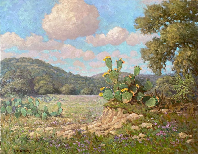 """Eric Harrison Landscape Painting - """"CACTUS BLOOMS WITH VERBENA"""" PRICKLY PEAR TEXAS HILL COUNTRY"""