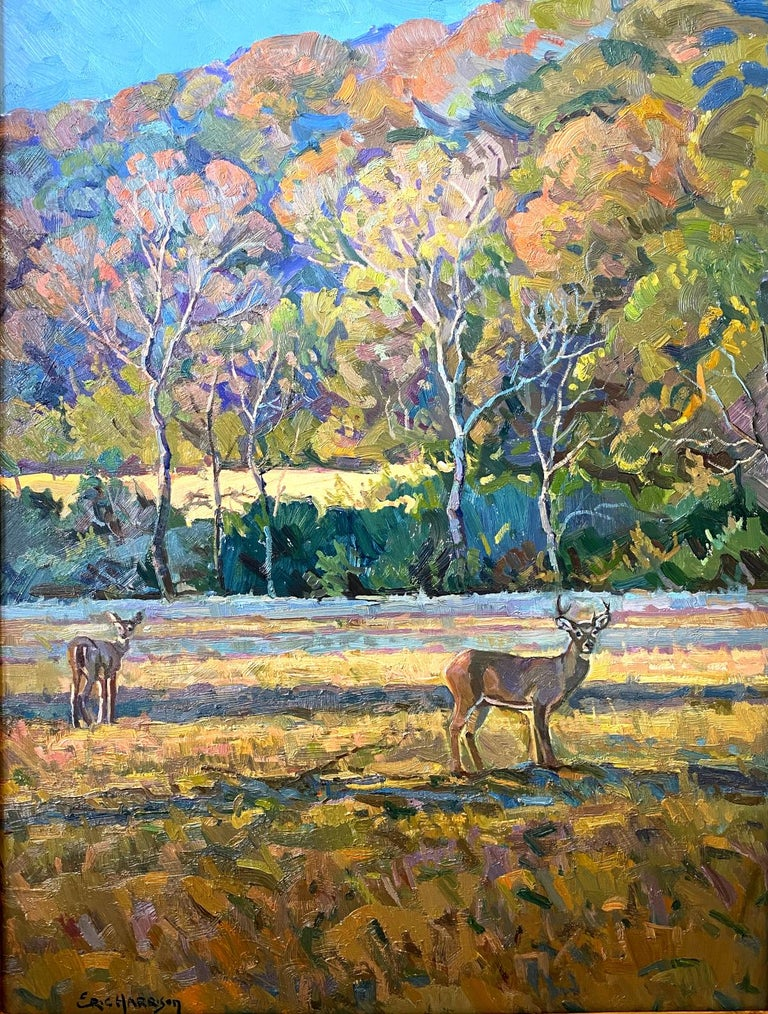 """Eric Harrison Animal Painting - """"HIRSCH IN HERBSTFARBEN"""" DEER IN FALL COLORS.  WHITE TAIL TEXAS HILL COUNTRY"""