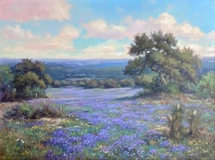 """""""VERBENA SPRING""""  TEXAS HILL COUNTRY WILDFLOWERS LANDSCAPE MAGNIFICENT"""