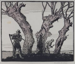 Hay Cutters by Eric Hesketh Hubbard Woodcut