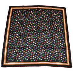 """Eric Holch Bold Whimsical """"Camping"""" Silk Scarf"""