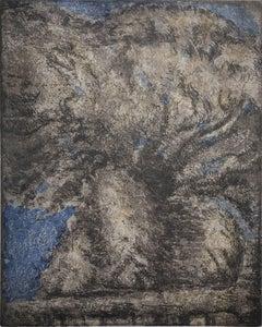 """Albero One"", modern atmospheric landscape tree print, ochre, blue, black."